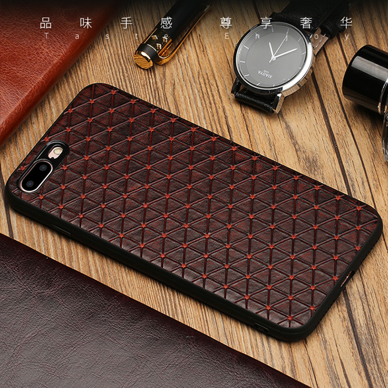 <font><b>Original</b></font> Genuine <font><b>Leather</b></font> Phone <font><b>case</b></font> For <font><b>iPhone</b></font> X 7 <font><b>8</b></font> 6 <font><b>Plus</b></font> 5 5S SE Business Style Triangle Texture 360 silicon soft Back cover image