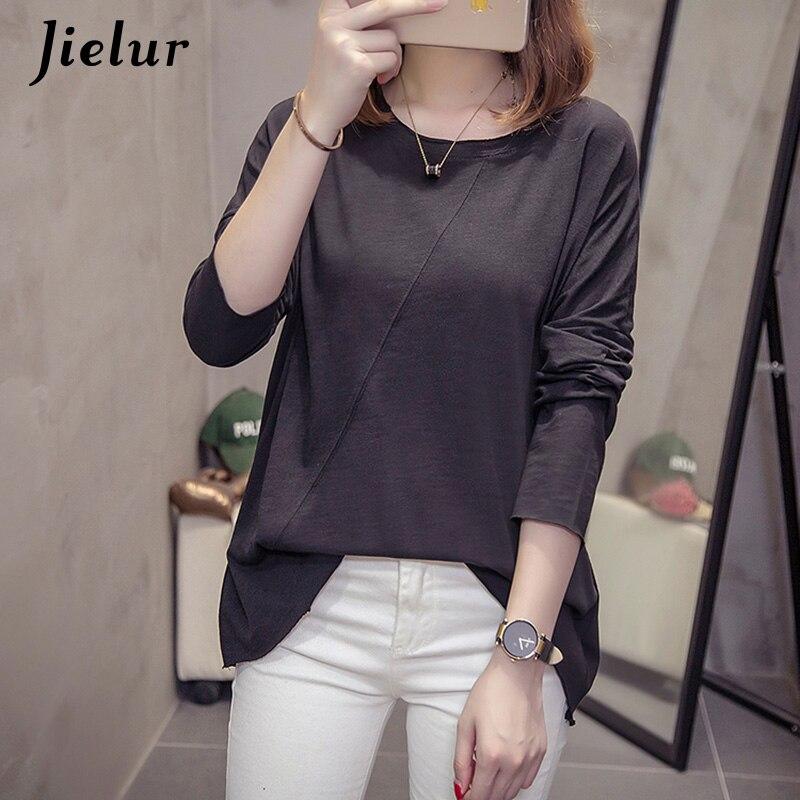 ff6999852b16 Jielur 2019 Autumn Korean Long Sleeve T-shirts Women New Loose Slub Cotton Tops  Casual
