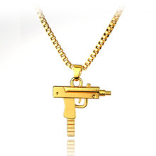 Hip hop long necklace Gold Rose Plated Pistol Uzi Gun 50cm Chain Pendants & Necklaces Men/Women HipHop Maxi Necklace Men Jewelry