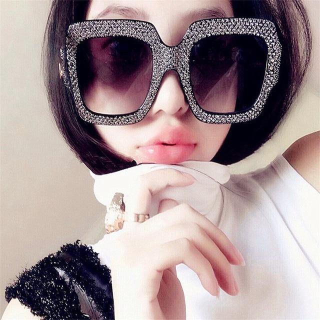 CURTAIN Oculos Feminino Spectacles Trendy Big Imitation Diamond Sunglasses Square Fashion Street Shot Personality Sun Glasses  1