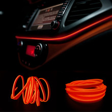 JURUS Universal 5M 10 Colors Car Interior Lighting Led Light Atmosphere Lamp Strip 12V Inverter Flexible Neon Wire Rope