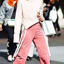 AEL розовый в полоску с завышенной талией тонкие женские вельветовые брюки зимняя утепленная женская одежда модные женские повседневные брюки с широким клешем