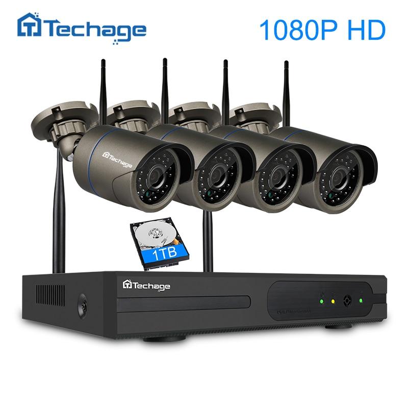 Techage 4CH 1080 P Беспроводной видеонаблюдения Системы Wi-Fi NVR 2MP ИК Открытый Водонепроницаемый IP Камера P2P комплект видеонаблюдения 1 ТБ HDD