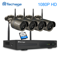Techage 4CH 1080P Plug And Play Wireless NVR Surveillance Kit P2P 2MP FULL HD Indoor Outdoor