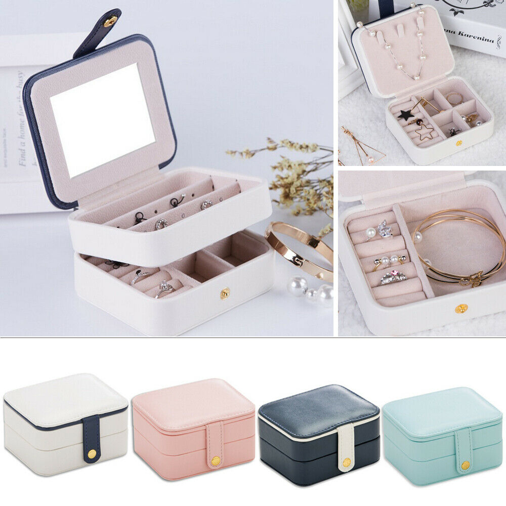 Mini Luxury Portable Travel Jewelry Box Organizer PU Jewellery Ornaments Case Makeup CosmeticDisplay Storage Organizer Gift