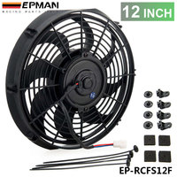 TANSKY EPMAN Racing Car Universal 12V 12 Electric Fan Curved S Blades Radiator Cooling Fan For