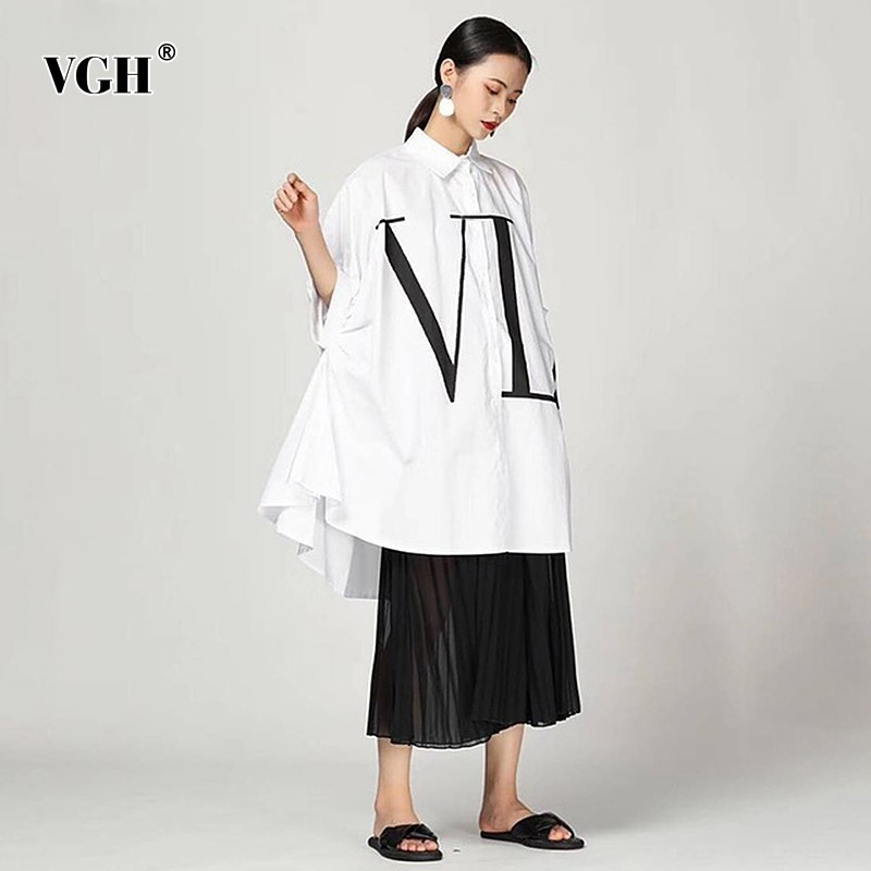 VGH 2019 Summer Casual Letter Print Women's Shirt Lapel Batwing Sleeve Button Loose Long Length Blouse Female Fashion New Tide