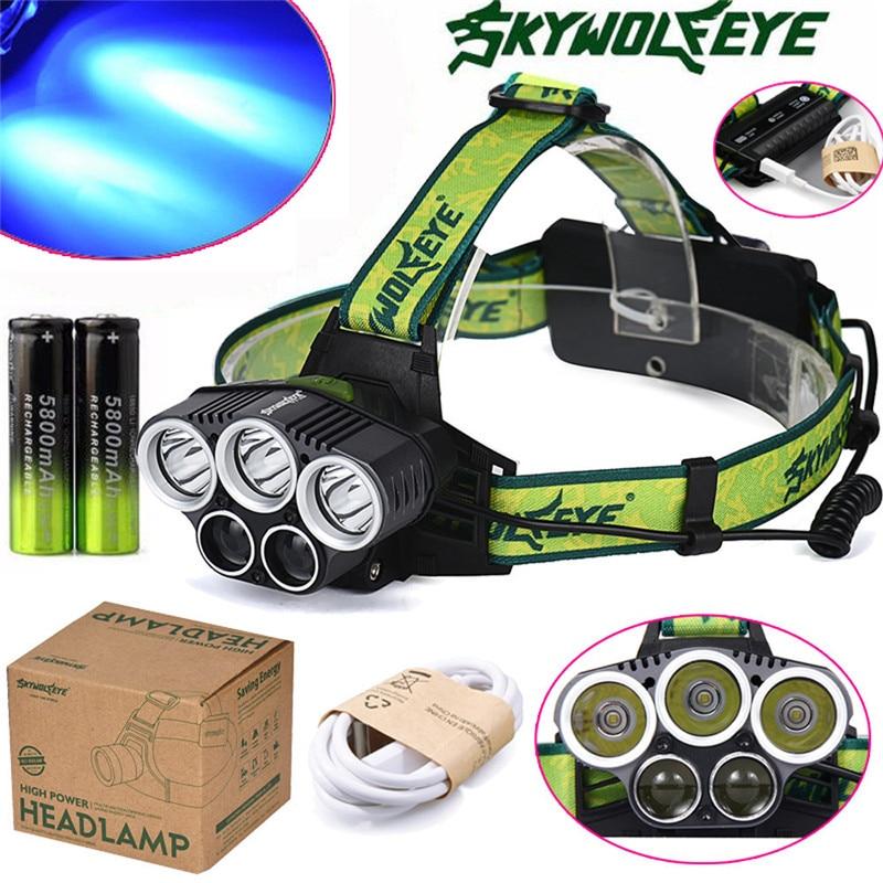 SKY WOLF EYE 3x XM-L  White+2x R2 Blue Headlamp Headlight Head Light LED 18650 Battery Outdoor Cycling Camping Hunting M23 blue sky чаша северный олень