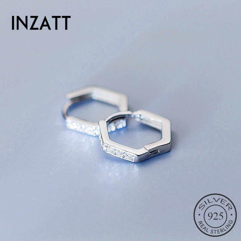 INZATT Hexagon Geometris Minimalis Zirkon Hoop Earrings Wanita Wedding Party Nyata 925 Sterling Silver fashion Perhiasan Hadiah