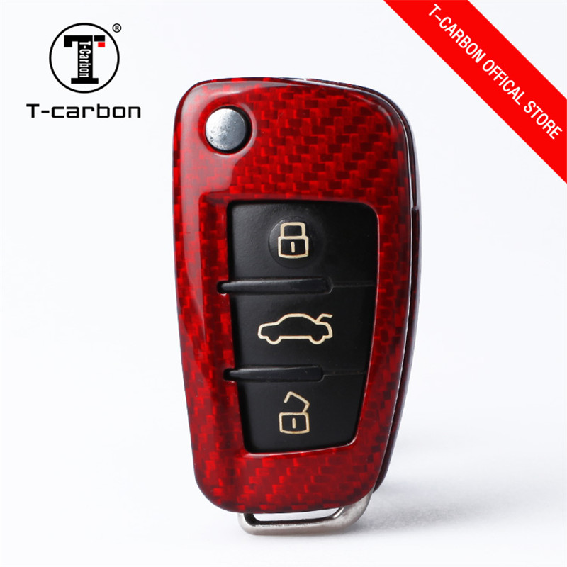 Car Key Protection Cover For Audi BUTTON START Carbon Fiber for Audi A4 A4L A5 A6 A6L Q5 S5 S7 Protect Shell Car Styling