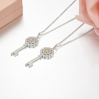 ZOZIRI brand new design 925 Sterling Silver cool Key Pendant Necklace cute Women everyday Jewelry