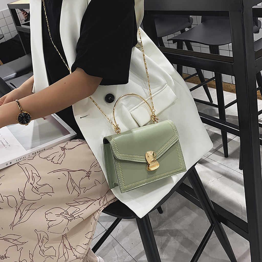Elegan Wanita Green Square Tas Tangan Wanita Gesper Logam Liar Messenger Casing Fashion Satu Bahu Kecil Tas Mini Wanita Totes