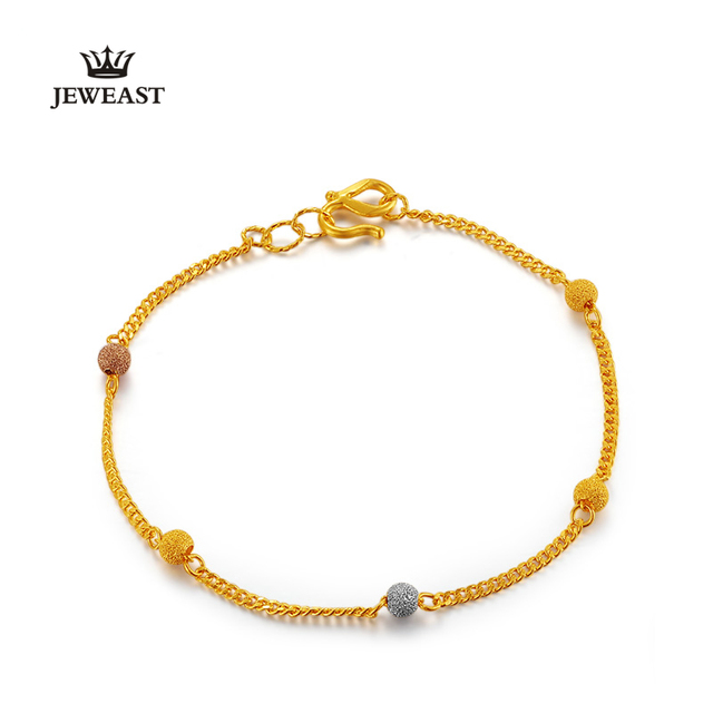 24 K Pulseira de Ouro Puro Ouro 999 pulseira Jóias Moda Feminina Pulseira de ouro Contas real sólido fino top de luxo new hot venda