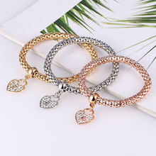 L&H 3PCS/Set Fashion Heart Bracelets Set Shine Rhinestone For Women High Quality Elastic Bangles Gifts