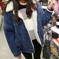 Moda Parkas Casacos de Inverno Baratos Mulheres Quente Azul Ampla Waisted Denim Forro de Lã Quente Outwear Jaqueta Casaco Meninas