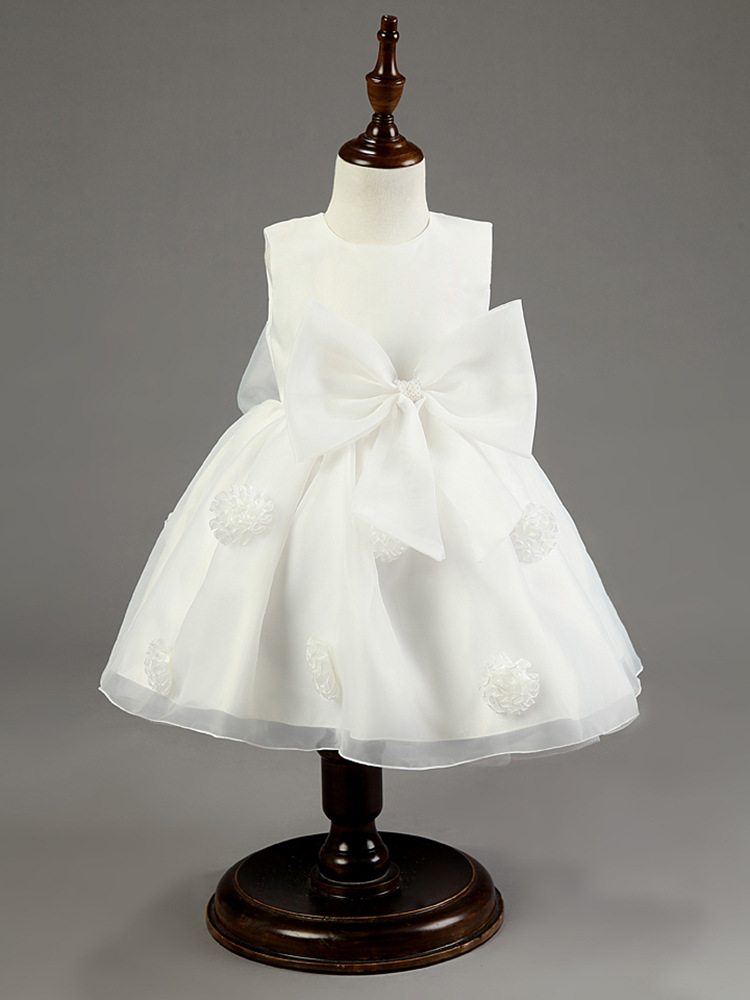 2018 Fashion Baptism Dress for Little Girls Blue Hot Pink Purple White Flower Ball Formal Infant Baby Girls Wedding Dress