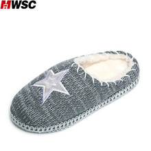 MWSC Women's Woolen Yarn Knitted Printed Slippers Winter Warm Plush Comfortable Clog Indoor Slippers Casual Shoes
