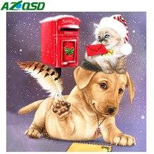 AZQSD New Diamond Painting 2019 Embroidery Dog Christmas 5d Art Mosaic Cross Stitch Kits Handmade Gift