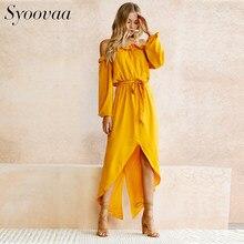 85e3ecc1398 Syoovaa Сексуальная каскадных рюшами Slash шеи летнее платье женские  элегантные желтый Пояса длинное платье без бретелек