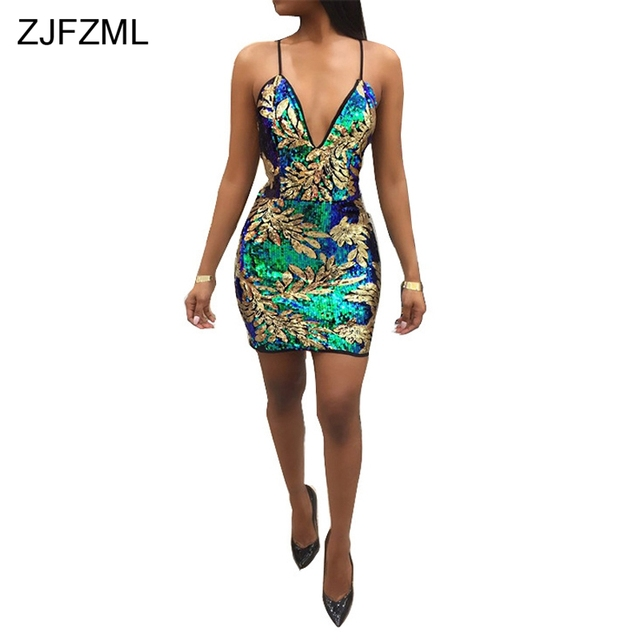 ZJFZML 2018 Spaghetti Strap Sexy Party Dress Women Deep V-Neck Sleeveless  Bodycon Dress Summer Back Zipper Sparkly Sequins Dress c9e4b9418a9e