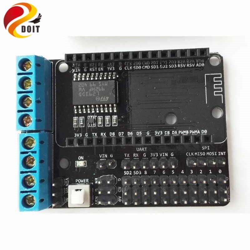 DOIT 10 pièces NodeMCU moteur bouclier panneau L293D pour ESP-12E de ESP8266 ESP 12E Kit bricolage RC jouet WiFi RC voiture intelligente télécommande