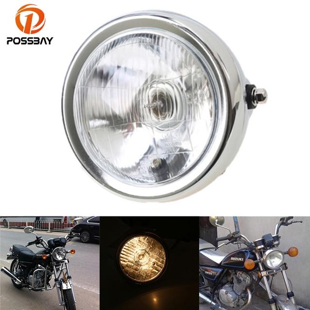POSSBAY 62 Universal Motorcycle Headlights Headlamp For Harley Honda Yamaha Custom Suzuki GN 125 Motorbike