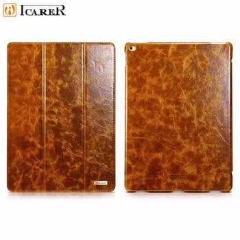 "Icarer Genuine Leather Case For iPad pro 12.9"" 2017 Retro Leather Flip Cover For iPad Pro 12.9(2017) Business Case"