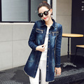 denim trench coat for women 2017 spring autumn winter outerwear new style windbreaker hole long coat female fashion clothing