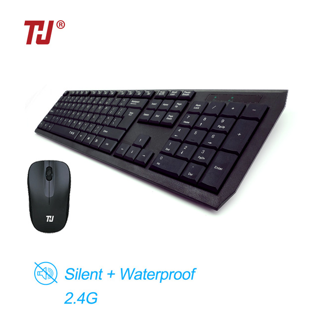 51bc076f540 THU Waterproof 2.4GHz Ultra Thin Compact Portable SMALL Wireless Keyboard  and Mouse Combo Set for PC, Desktop, Laptop
