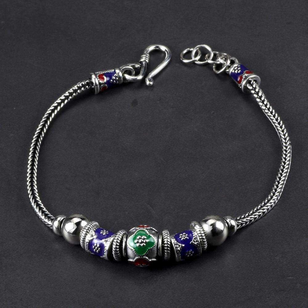 Genuine 925 Sterling Silver Bracelets For Women Vintage Enamel Round Beads Charm Chain Personalized Bracelet Bileklik Erkek