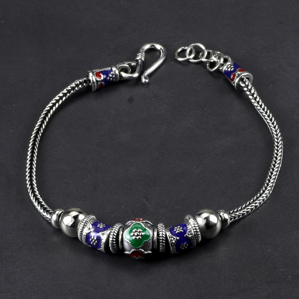Genuine 925 Sterling Silver Bracelets For Women Vintage Enamel Round Beads Charm Chain Personalized Bracelet Bileklik Erkek 925 sterling silver expandable bracelet for women vintage lotus charm flowers engraved bracelets