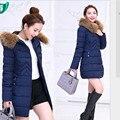 Nova moda inverno jacket mulheres Long estilo Parkas brasão magro Casual mulheres casaco de inverno quente Parka Plus Size manteau femme H195