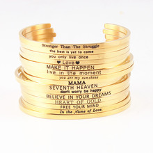 Gold Stainless Steel Engraved Bangle Personalized Positive Inspirational Letter Bracelet & For Women