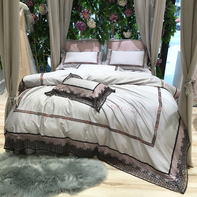 100S Pima Cotton White Luxury Lace Embroidery Bedding Set Queen King Size  Duvet Cover Bed Linen Bed Sheet Pillowcases 4/5pcs