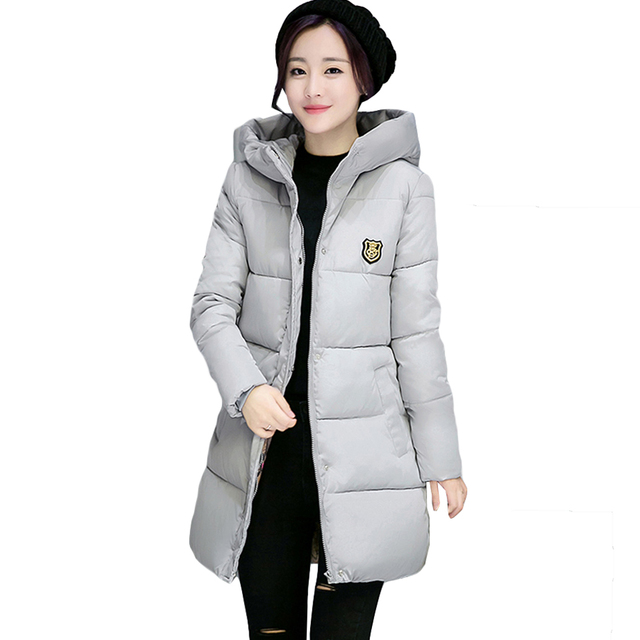 Winter Jacket Women Clothing 2017 Long Quilted Coat Solid Color Hooded Military Parka Plus Size Down Cotton Padded Outwear Xy507