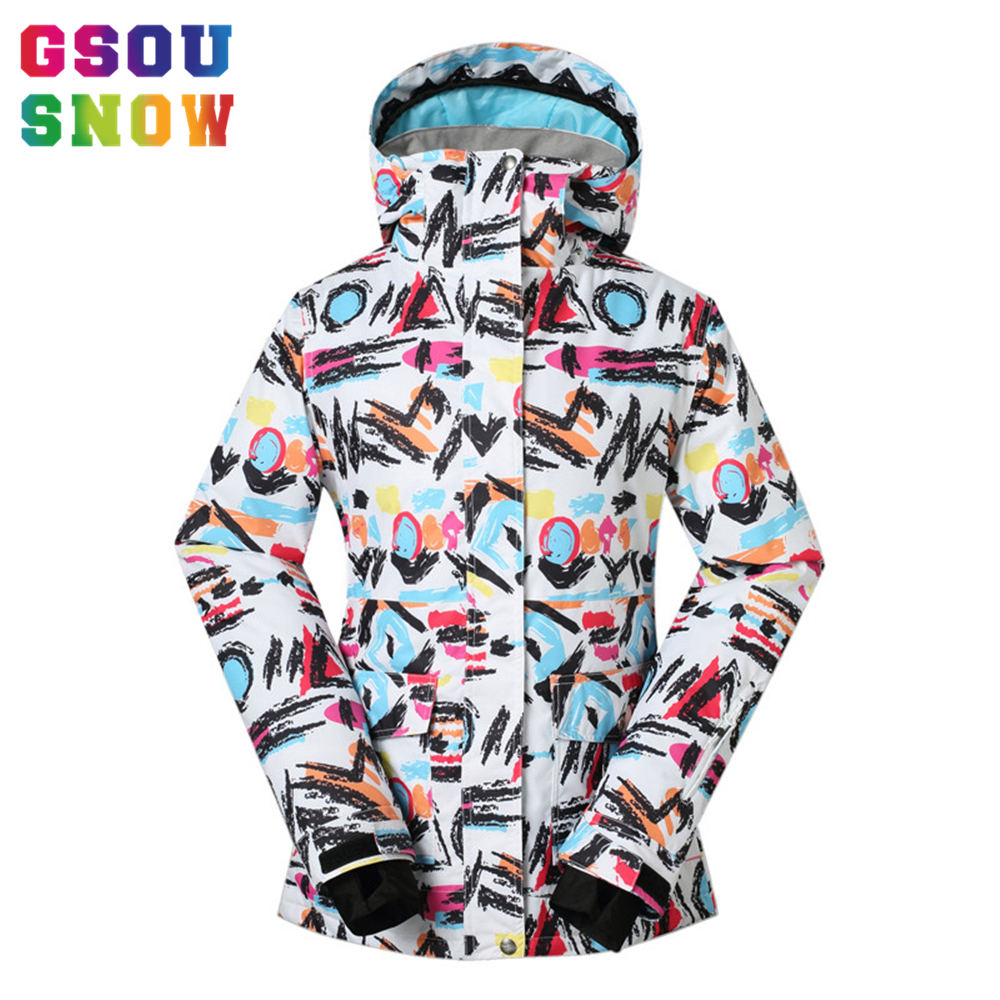 GSOU SNOW women's Winter -30 Degree Ski Jacket Waterproof Breathable Warmth Snowboard Jackets  Outdoor Colorful Printed Coat