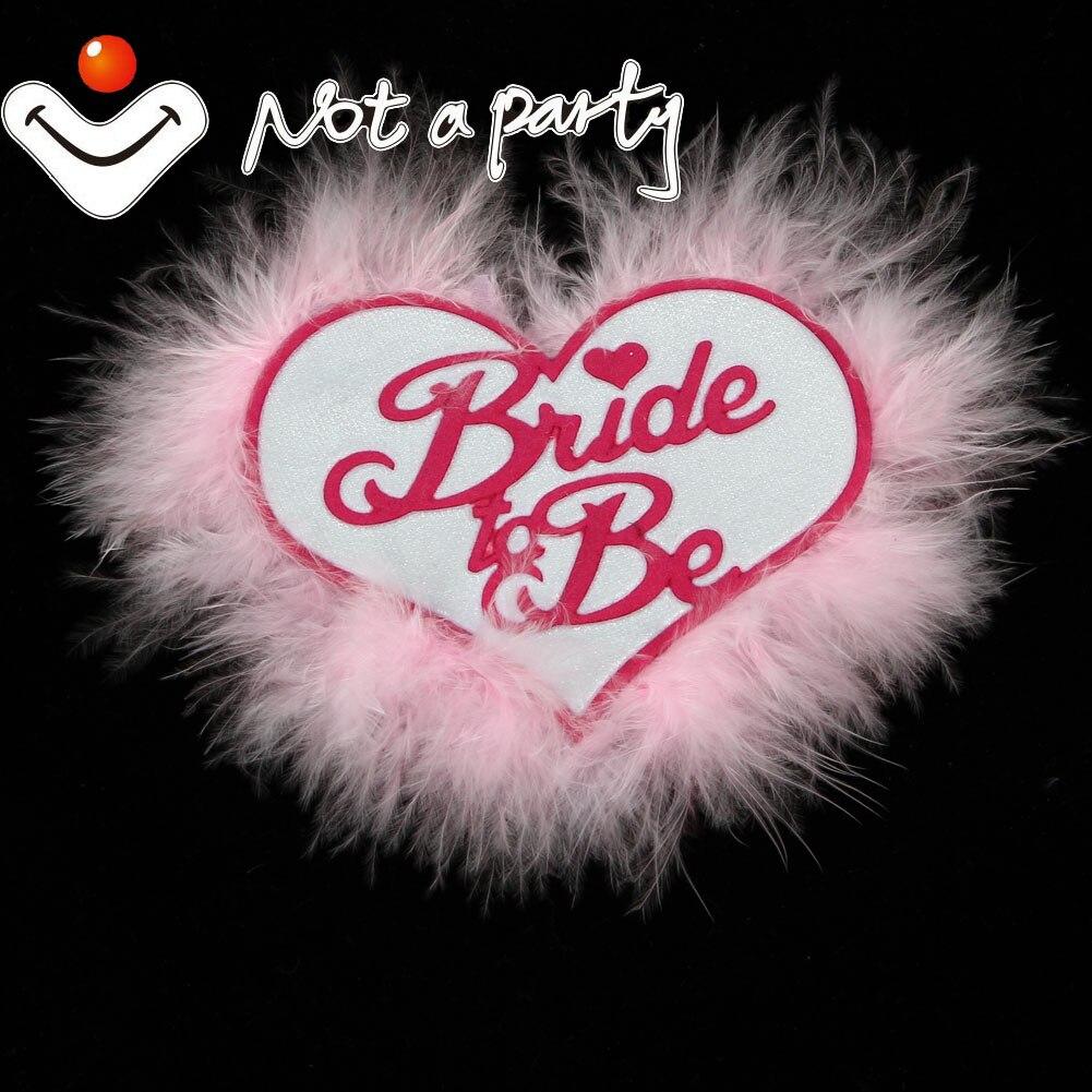 Φ_Φ12pcs of pale pink feather button heart bride to be brooch ...