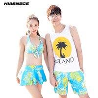 Couples Swimsuir Women 4 Piece Bikinis Skirt Set Man's Beach Shorts Leave Printed Sexy Halter Top Swimwear Lover's Bathing suit