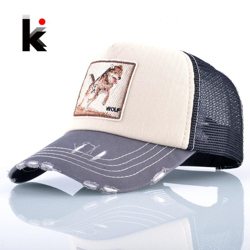 Fashion Unisex Patch Bones Wolf Embroidery Hip Hop Hats Breathable Mesh   Baseball     Caps   Men Women Casquette Summer Trucker Gorras
