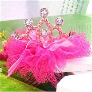 Стиль,, блестящие стразы для девочек, заколка для волос в форме короны с лентой, Детские аксессуары, защитная Милая заколка для волос - Цвет: dark pink