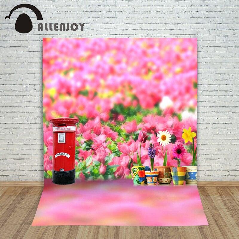 Allenjoy photographic background Fuzzy flowers Mailbox backdrops boy kids scenic Excluding bracket 150x200cm