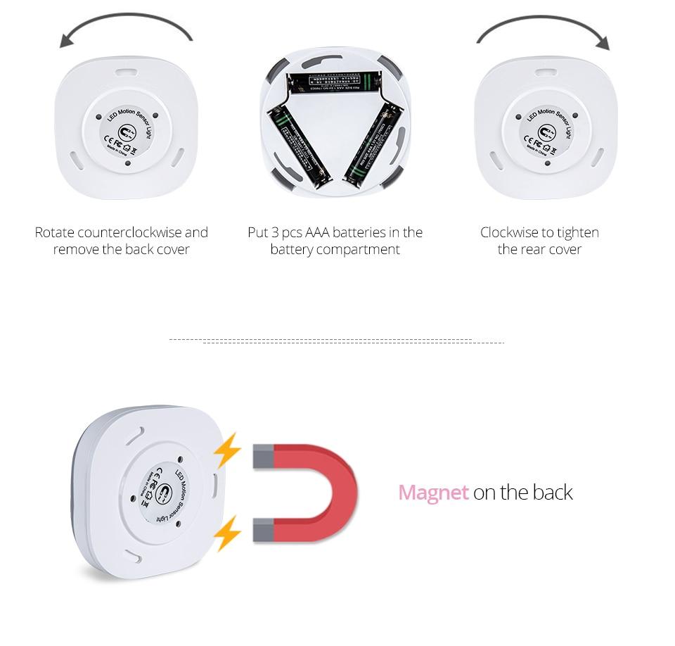 Under Cabinet Light PIR Motion Sensor Wireless Wall Lamp Smart LED Light Warbrobe Ceiling Closet Emergency Bedroom Kitchen Light (10)