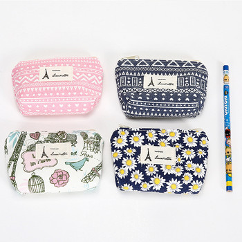 Cotton and linen small fresh purse Vintage pastoral wind female coin bag Earphone bag Clutch bag case for headphones organizer