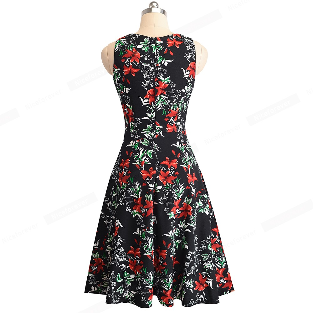 Nice-forever Vintage Elegant Embroidery Floral Lace Patchwork vestidos A-Line Pinup Business Women Party Flare Swing Dress A079 60