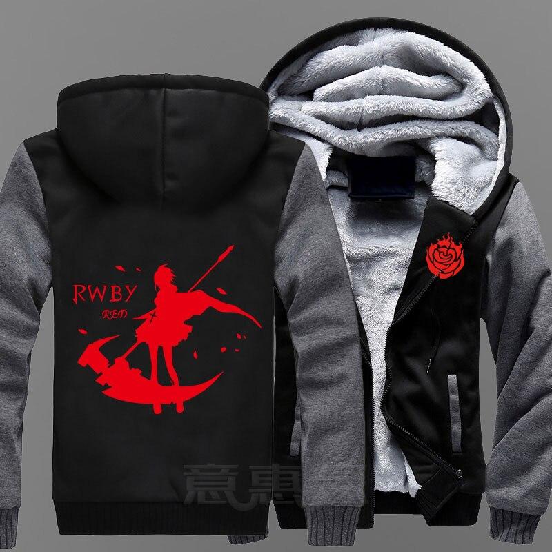 New RWBY Hoodie Ruby Rose Anime Coat Jacket Winter Men Thick Zipper Sweatshirt hoodie