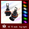Night Lord 2pcs /lot New Design High power Auto RGB 18 Mode Car vehicle auto H11 H8 Car LED fog light lamp Bulb,Free shipping