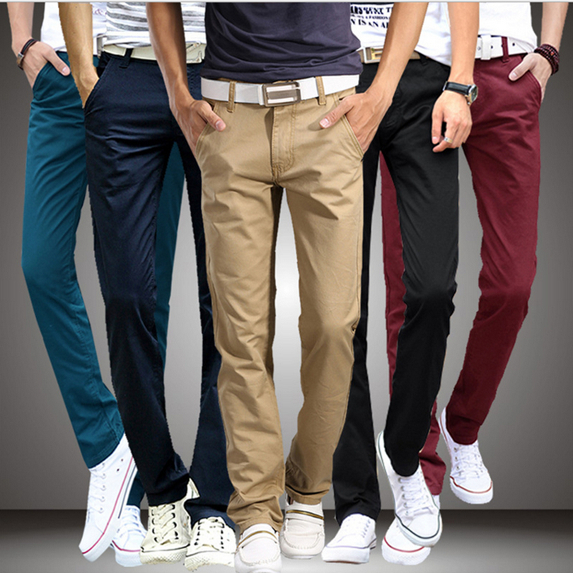 Trousers Male Clothing Casual Pants Spring Slim-Fit Chinos Plus-Size Men Cotton Summer