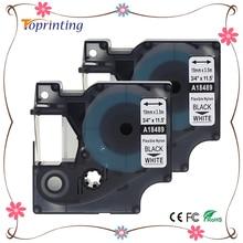Labelife 2 упак. 18489 Rhino 19 мм гибкие этикетки нейлон черный на белом S0718120 для dymo labelwriter и промышленные этикетки производители