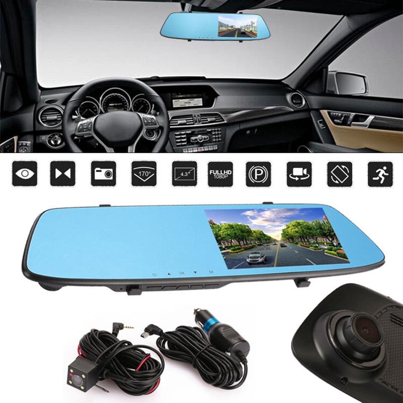 Vehemo 5 Dual Lens Camera Night Vision Dashcam dvr Digital Video Recorder Full HD 1080P Car Dvrs Rear View Mirror Dash Cam wifi dual lens 5 hd 1080p car dvr video recorder g sensor rearview mirror dash camera auto registrar rear view dvrs dash cam