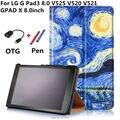 GPad X 8 inch V525 V521 Красочный рисунок Кожаный Чехол капа пункт Для LG G Pad 3 iii 8.0 V525 V520 V521 Gpad3 GPAD Х 8.0 дюймов